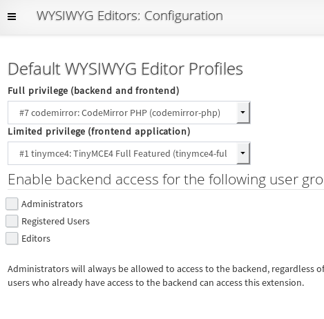 SCHLIX CMS global WYSIWYG profile