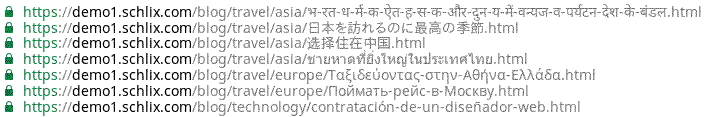 UTF-8 Japanese, Russian, Chinese, Korean, Vietname URL