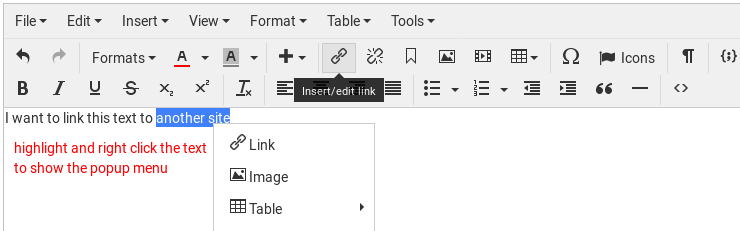How to insert a link in TinyMCE editor in Schlix CMS